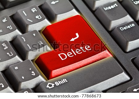Computer keyboard - Red key Delete, close-up - stock photo