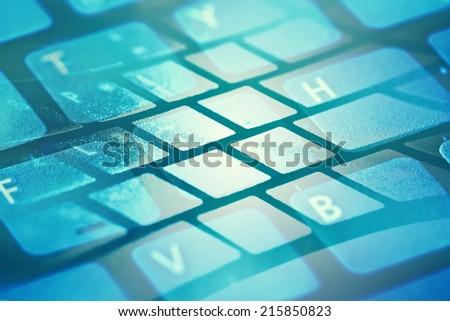 Computer keyboard. Small depth of field.  - stock photo