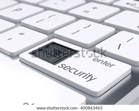 Computer keyboard with bank safe metal door on Enter key. 3d rendering. Computer and financial security concept - stock photo