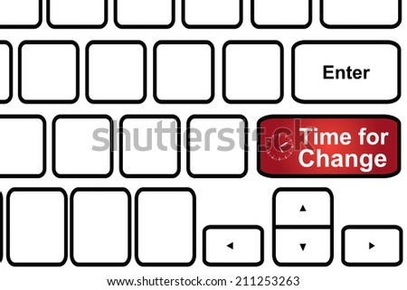 Computer keyboard with Clock icon and word Time for Change.Timeline concept. - stock photo