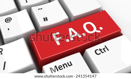Computer keyboard with FAQ key, three-dimensional rendering - stock photo