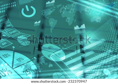 Computer keyboard with glowing charts, digital marketing concept - stock photo