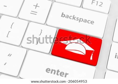 computer keyboard with icon Education - stock photo