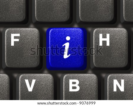 Computer keyboard with information key - stock photo