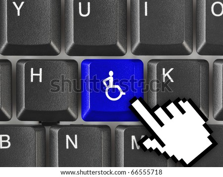 Computer keyboard with invalid key - healthcare background - stock photo