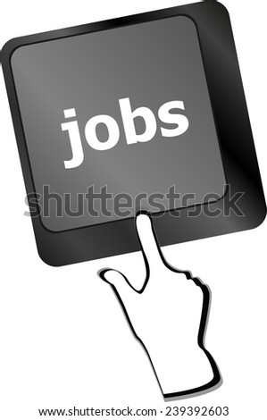 Computer keyboard with JOB enter key - business concept - stock photo