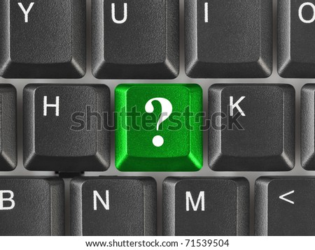 Computer keyboard with question key - business concept - stock photo
