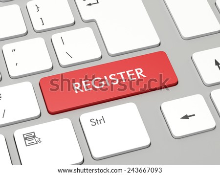 Computer keyboard with red register button - stock photo
