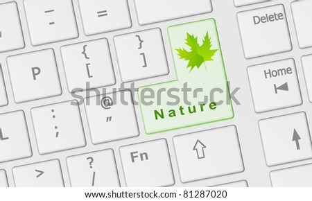 Computer keyboard with special Nature key in green - stock photo