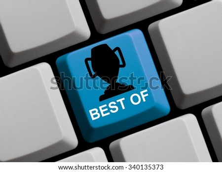 Computer keyboard with symbol of trophy showing best of - stock photo
