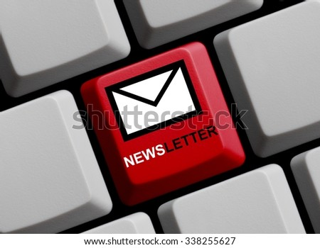 Computer Keyboard with Symbol showing newsletter online - stock photo