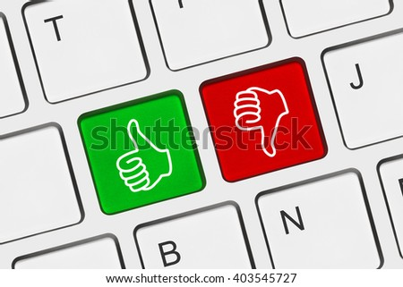 Computer keyboard with two gesturing hands keys - stock photo