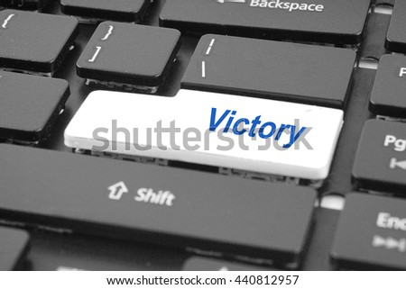Computer keyboard with victory key. Keyboard keys icon button .                - stock photo