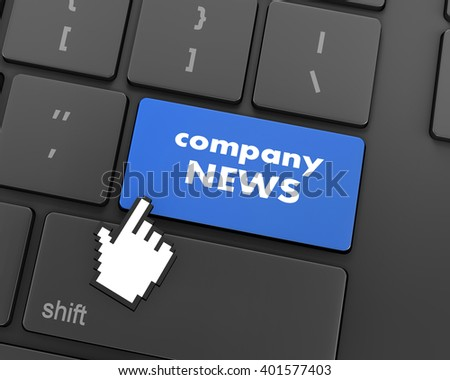 computer keyboard with word Company News, 3d rendering - stock photo