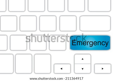 Computer keyboard with word emergency. - stock photo