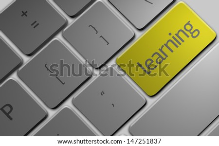 Computer keyboard with word Learning - stock photo