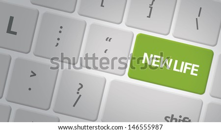 Computer keyboard with word New Life - stock photo