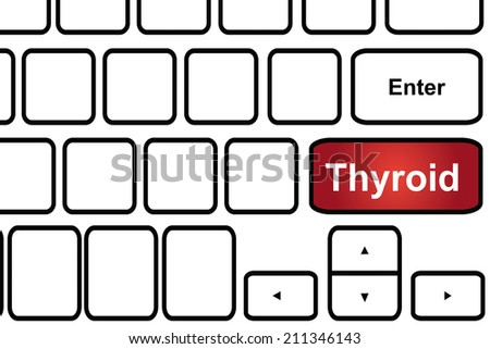 Computer keyboard with word thyroid. - stock photo