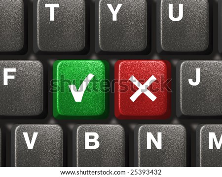 Computer keyboard with Yes and No keys - stock photo
