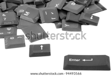 Computer keys isolated on white - stock photo