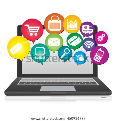 Computer Laptop or Computer Notebook With Online Shopping or E-Commerce Icon  Isolated on White Background - stock photo