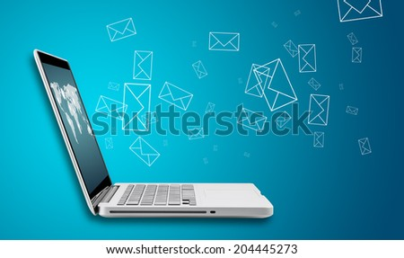 Computer laptop send email concept on blue background - stock photo