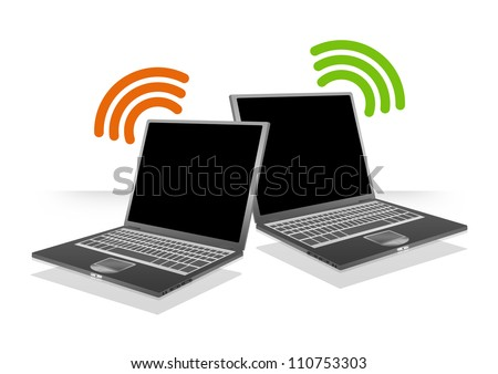 Computer Laptop With Wifi Sign For Online Communication Concept Isolate on White Background - stock photo