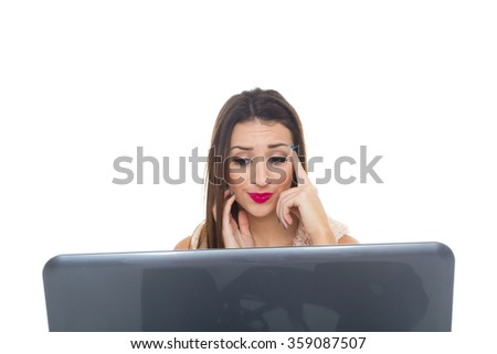 Computer. Laptop.Woman.Girl. Businesswoman.Girl working at the laptop.  - stock photo