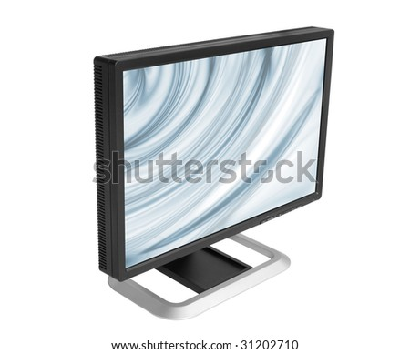 computer lcd display isolated on white background - stock photo