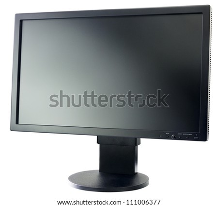 Computer LCD flat monitor isolated on the white background - stock photo