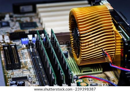 Computer mainboard macro view, details and sockets - stock photo