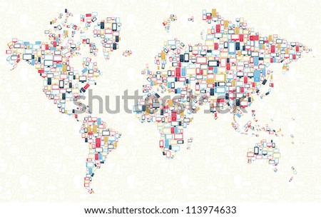 Computer, mobile phone and tablet colors icons in world shape over social media background. - stock photo