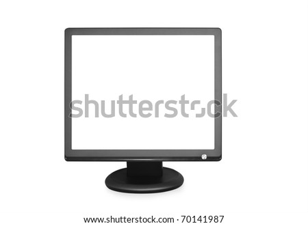 computer monitor isolated on white background - stock photo