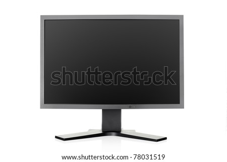 Computer monitor isolated on white background, blank screen and outline clipping path included - stock photo