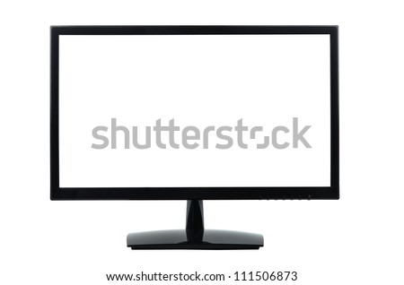 Computer monitor isolated on white, clipping path - stock photo
