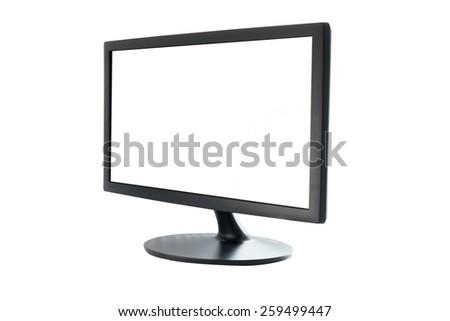 computer monitor isolated white background - stock photo