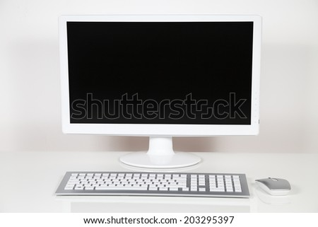 computer monitor, keyboard and mouse - stock photo