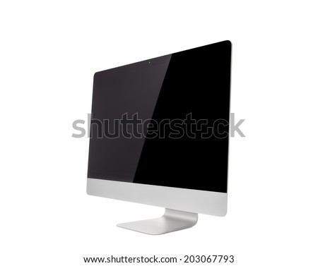Computer Monitor, like mac with blank screen. Isolated on white background. - stock photo