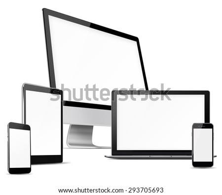 Computer monitor, mobile phone, laptop and tablet pc with blank screen isolated on white background. Highly detailed illustration. - stock photo