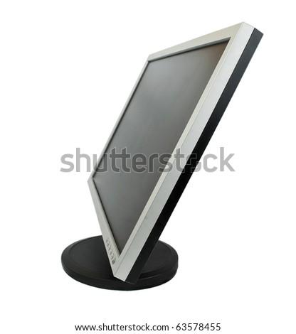 computer monitor on white background - stock photo
