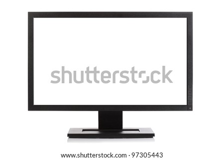 Computer monitor or Widescreen HD television isolated on white with blank screen - stock photo