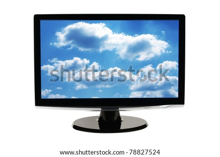 Computer monitor screen isolated on white background with clipping path (easy to remove sky) - stock photo