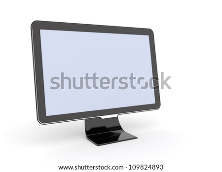 Computer Monitor with blank screen on white background - stock photo