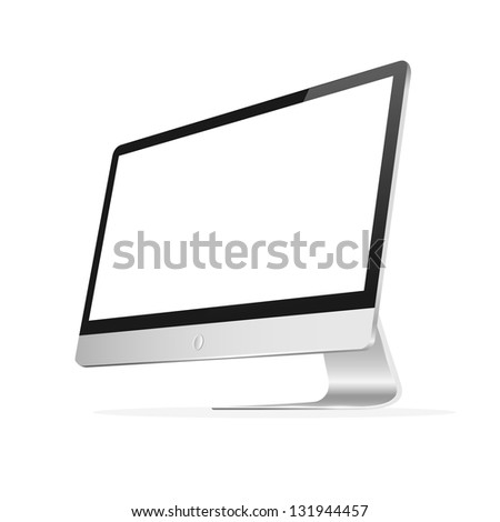 Computer monitor with blank screen. Raster version - stock photo
