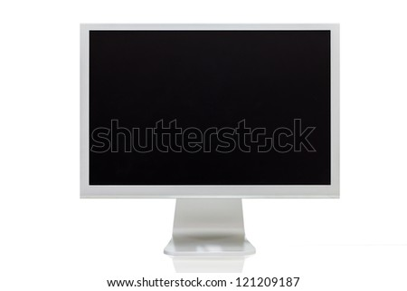 computer monitor with blank (white) screen. Isolated on white background. - stock photo