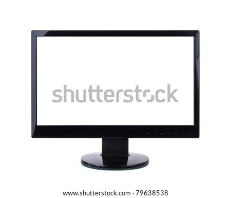 Computer Monitor with blank white screen. Isolated on white background. - stock photo