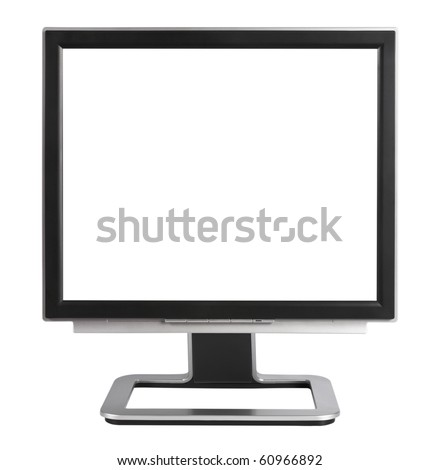 Computer Monitor with blank white screen,isolated on white with clipping path. - stock photo