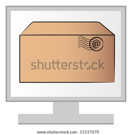 computer monitor with email letter on the screen - stock photo