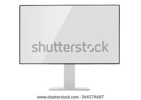 Computer Monitor with glossy screen and reflection. Isolated on white background. - stock photo