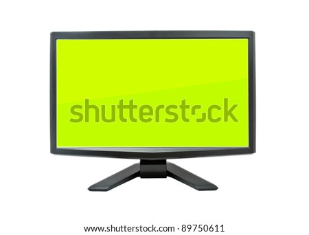 Computer monitor with green flat wide screen isolated on white - stock photo